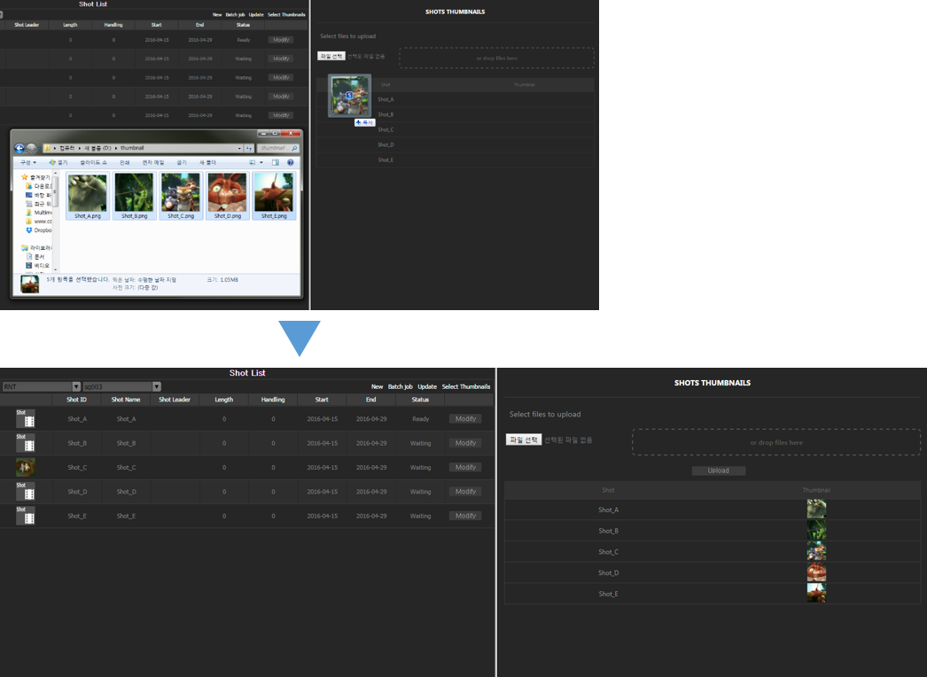 Shot-Asset auto upload thumbnail system
